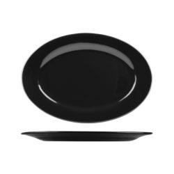 Classicware Black Wide Rim Oval Plate