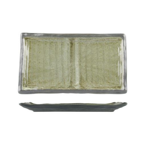 Uniq GreenGrey Ribbed Rectangular Plate