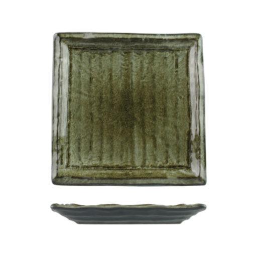 Uniq GreenGrey Ribbed Square Plates