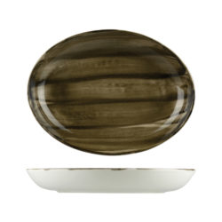 Natural Satin Oval Coupe Bowls 275mm