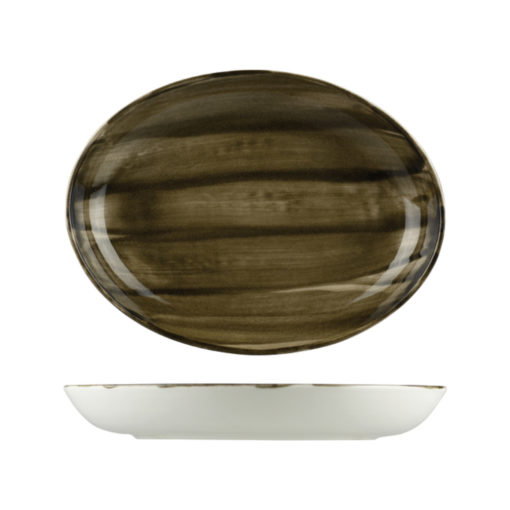 Natural Satin Oval Coupe Bowls 320mm
