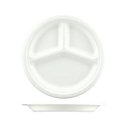 3 Compartment Round Sugarcane Plate