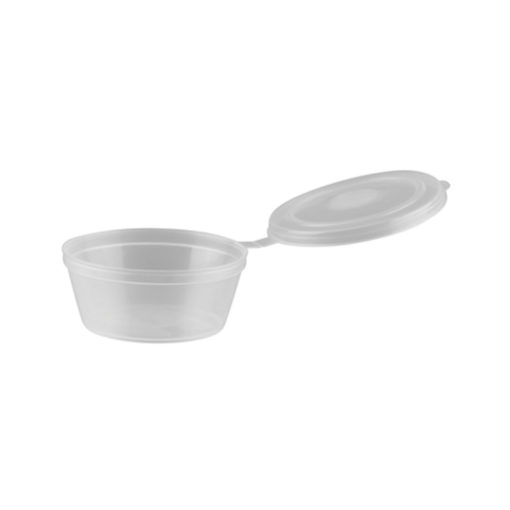 PP Sauce Containers with Hinged Lids